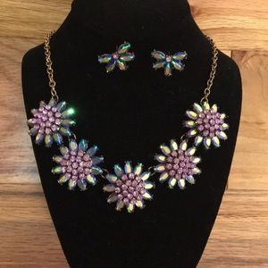 Necklace & Earrings Brilliant Rhinestones Ornate